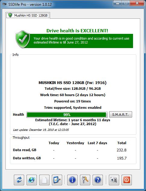 Главное окно SSD Life