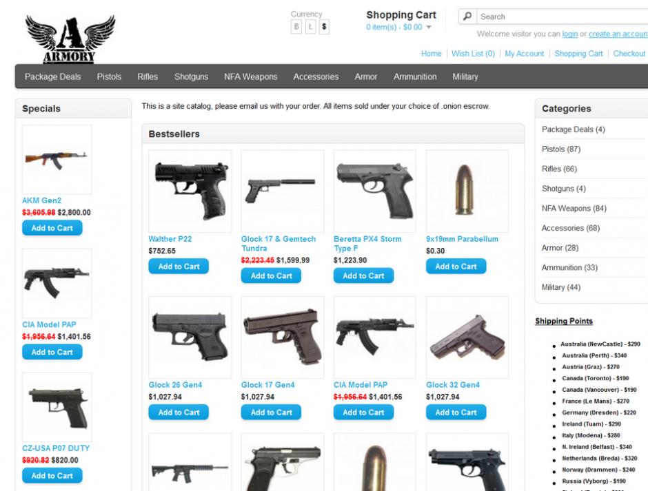 Интернет-магазин оружия в Dark Web