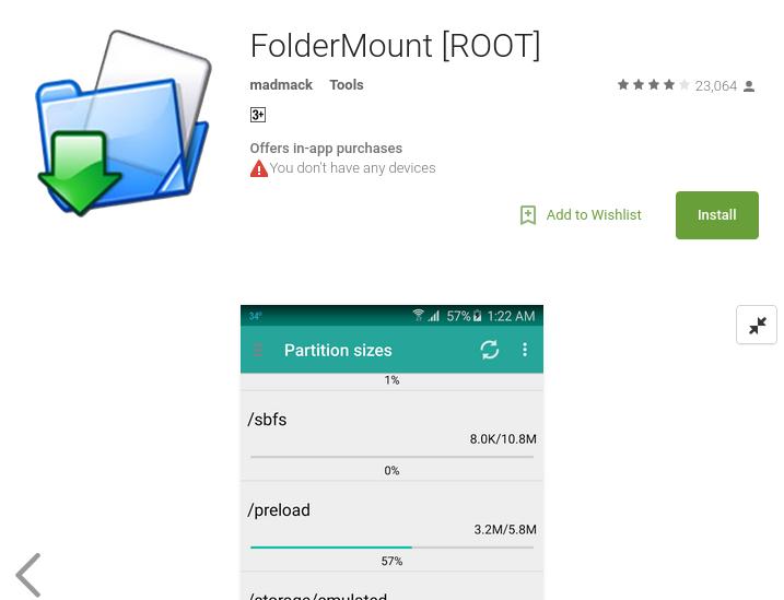 ПРиложение Folder Mount для перенаправления файлов Whatsapp на SD-карту