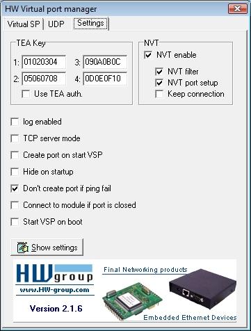 Установки виртуальных COM-портов